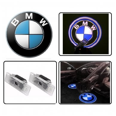 BMW LED 3D originalus logotipas šešėlis į duris 4