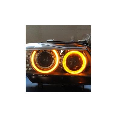 CCFL Amber Eyes geltoni šviesos žiedai E36; E38; E39; E46 su lešiu iki facelift; E46 cope 99-03 m 10