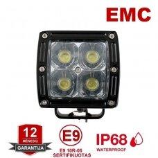 CREE LED MINI 20W žibintas siauro spindulio 10-30V, 4 LED +EMC