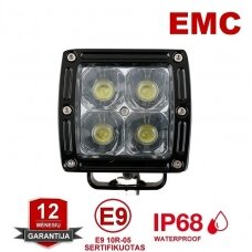CREE LED MINI 20W žibintas plataus spindulio 10-30V, 4 LED +EMC