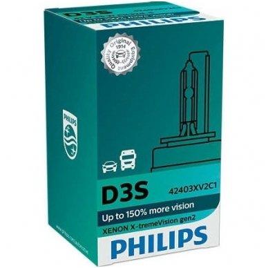 D3S NEW PHILIPS X-TREME VISION +150% GEN2 originali 42403XV2C1, 4800K xenon lemputė