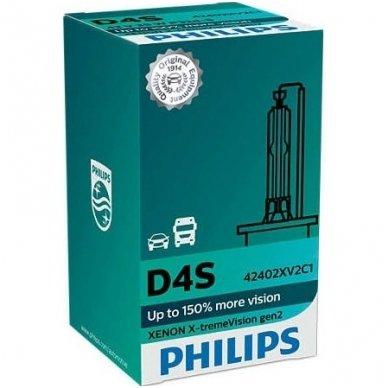 D4S NEW PHILIPS X-TREME VISION +150% GEN2 originali 42402XV2C1, 4800K xenon lemputė