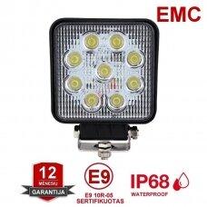 EMC LED siauro švietimo darbo žibintas 27W, 10-30V, 9 LED