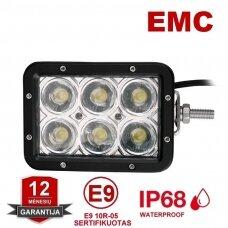 EMC LED plataus švietimo darbo žibintas šoninio tvirtinimo 30W, 10-30V, 6 LED