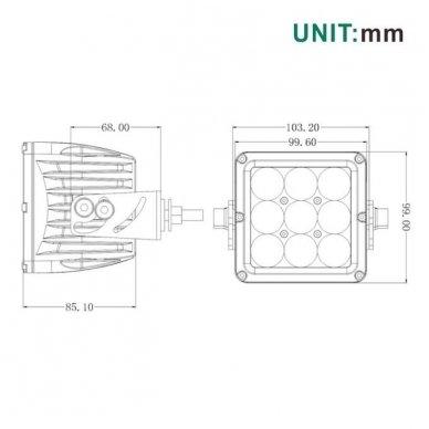 EMC 4D CREE LED darbo žibintas 27W, 10-30V, 9 LED 13