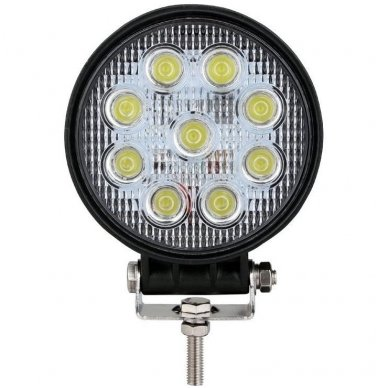 EMC LED plataus švietimo apvalus darbo žibintas 27W, 10-30V, 9 LED 7