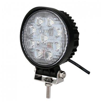 EMC LED plataus švietimo apvalus darbo žibintas 27W, 10-30V, 9 LED 9