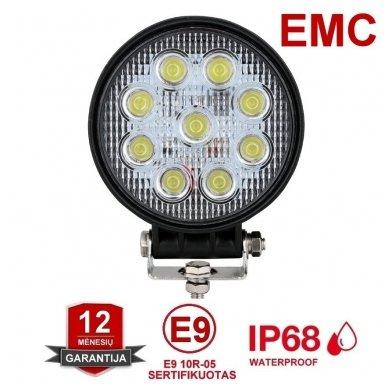 EMC LED plataus švietimo apvalus darbo žibintas 27W, 10-30V, 9 LED