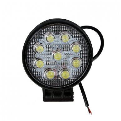 EMC LED plataus švietimo apvalus darbo žibintas 27W, 10-30V, 9 LED 10