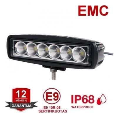 EMC LED plataus švietimo darbo žibintas 18W, 9-32V, 6 LED