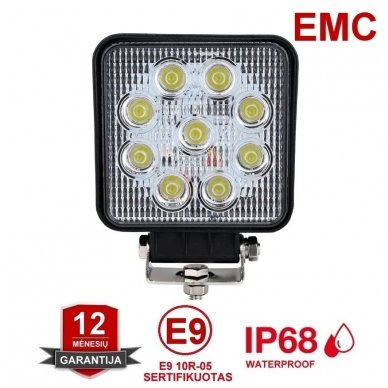 EMC LED plataus švietimo darbo žibintas 27W, 10-30V, 9 LED