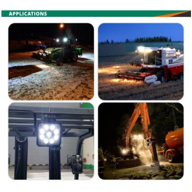 EMC LED plataus švietimo darbo žibintas 27W, 10-30V, 9 LED 2