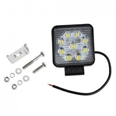 EMC LED plataus švietimo darbo žibintas 27W, 10-30V, 9 LED 8