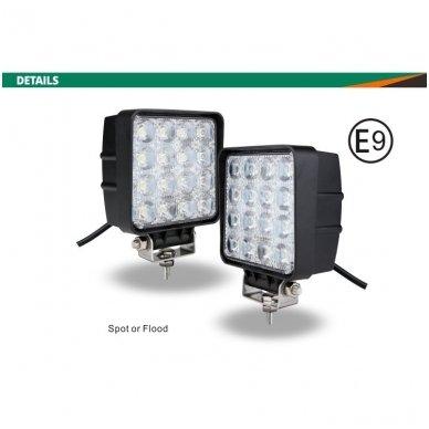EMC LED plataus švietimo darbo žibintas 48W, 10-30V, 16 LED 2