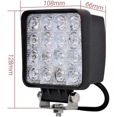 LED plataus švietimo darbo žibintas 48W, 10-30V, 16 LED, 3200LM 4