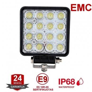 EMC LED siauro švietimo darbo žibintas 48W, 10-30V, 16 LED