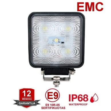 EMC LED SUPER plataus švietimo darbo žibintas 15W, 10-30V, 5 LED