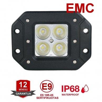 Įleidžiamas MINI LED žibintas plataus švietimo 20W, 10-30V, 4 LED, EMC