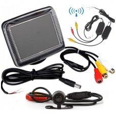 Galinio vaizdo kameros ir monitoriaus LCD komplektas - belaidis 2,4Ghz Wireless kameros pajungimas