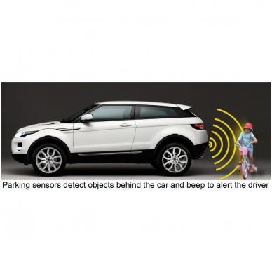 """Galo 4-ių juodos spalvos jutiklių parkavimo sistema """"EAGLE"""" su garsiniu Bi-Bi signalu. Garantija 36 mėn. 8"""