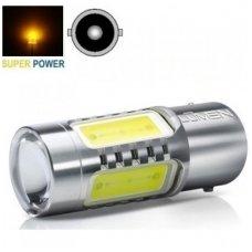 Geltona BA15S, P21W 3+1SMD, 12v-24v, 7,5w lemputė su priekyje lešiuku