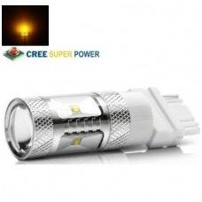 Geltona LED 3156 /3157 - 9w, 6 CREE LED dviejų - keturių kontaktų amerikietiškų automobilių posūkio lemputė