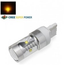 Geltona LED WY21W / T20 / 7440 / W21W - 9w, 6 CREE LED dviejų kontaktų amerikietiškų automobilių posūkio lemputė