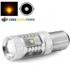 """Geltona SUPER CREE LED """"BA15S, P21W, PY21W """" 12v-24v, 9w, 6 smd - 700 LM galios - aukščiausios galios led posūkio žibintų lemputė su priekyje lešiu"""