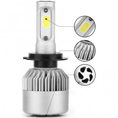H1 CAN-BUS Bridgelux LED sistema 12-24V, 36W, 4000LM į priekinius žibintus 3