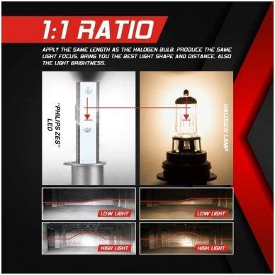 """H1 MINI CAN-BUS """"Philips ZES"""" +300% LED sistema 12V-24V 6500LM 7"""