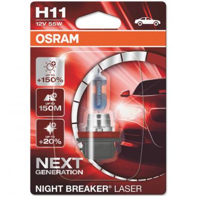 H11 OSRAM NIGHT BREAKER LASER +150% šviesos, +150m švietimo, +20% baltumo halogeninė lemputė