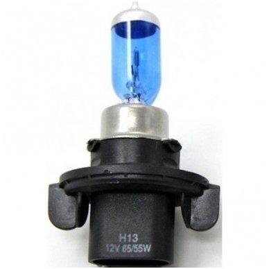 H13 1vnt. 5000K SUPER XENON WHITE 12v 60 /55w trumpųjų, ilgųjų, rūko šviesų halogeninė lemputė