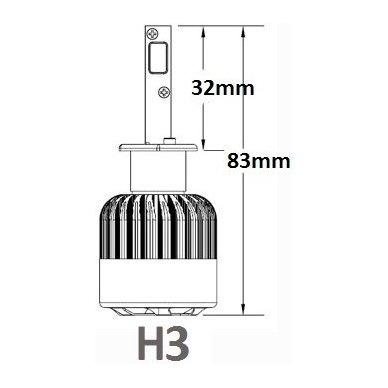 H3 CAN-BUS Bridgelux LED sistema 12-24V, 36W, 4000LM į priekinius žibintus 4