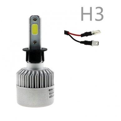 H3 COB LED sistema 12-24V, 25W, 2500LM į priekinius žibintus 2