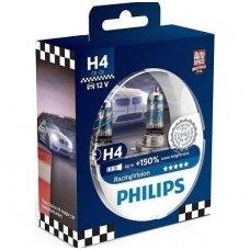 H4 Philips RacingVision +150% 55W lempučių komplektas 12342RVS2