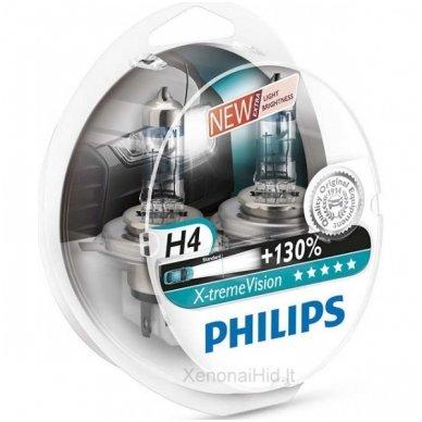 H4 Philips X-treme VISION, 60/55W 3700K, +130% šviesos, 12342XV+S2 5