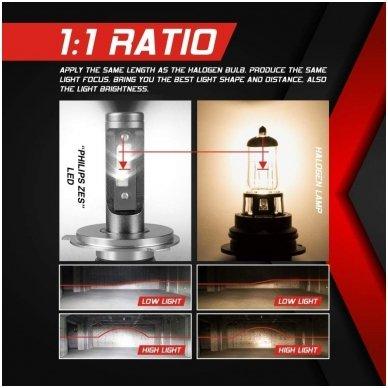 """H4 MINI CAN-BUS """"Philips ZES"""" +300% LED sistema 12V-24V 6500LM 6"""