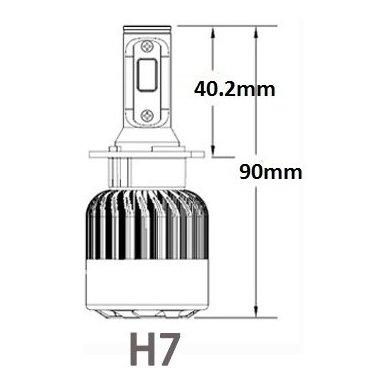 H7 CAN-BUS Bridgelux LED sistema 12-24V, 36W, 4000LM į priekinius žibintus 4