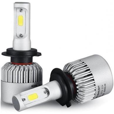 H7 COB LED sistema 12-24V, 25W, 2500LM į priekinius žibintus