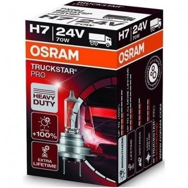 H7 OSRAM TRUCKSTAR PRO lemputė +100%  2.5X MORE LIFETIME 24V 70W 64215TSP