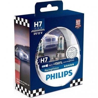 H7 Philips RacingVision +150% 55W lempučių komplektas 12972RVS2