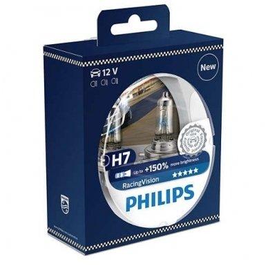 H7 Philips RacingVision +150% 55W lempučių komplektas 12972RVS2 9