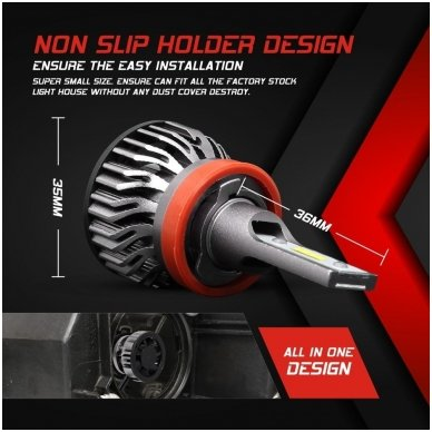 """H8 / H9 / H11 MINI CAN-BUS """"Philips ZES"""" +300% LED sistema 12V-24V 6500LM 4"""
