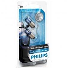 Halogeninės lemputės BA9S/T4W PHILIPS Blue Vision Ultra 3400K 12V 4W baltos 12929BVB2, 8711500310316