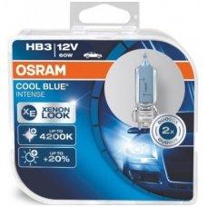 HB3 / 9005 2vnt. OSRAM COOL BLUE INTENSE4200K, +20% šviesos, 9005CBI, 4008321660282 halogeninės lemputės