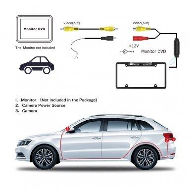 IR LED vaizdo kamera - automobilio valstybinio numerio rėmelis 31x16 6