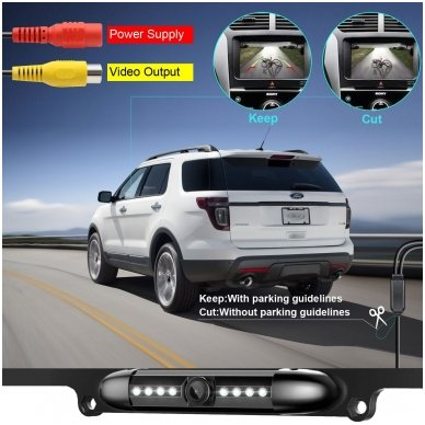 IR LED vaizdo kamera - automobilio valstybinio numerio rėmelis 31x16 3