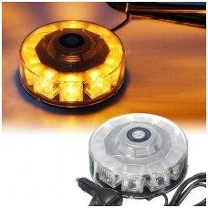 Įspėjamasis galingas 10 LED apvalus oranžinis švyturėlis su magnetiniu padu 12V-24V
