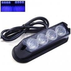 Įspėjamasis galingas 4 LED švyturėlis - mėlynas 12V-24V
