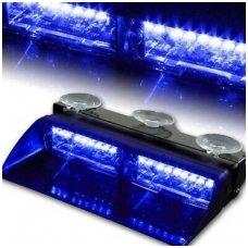 Įspėjamasis galingas LED švyturėlis mėlynas tvirtinamas prie stiklo